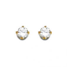 Inverness - Round Cubic Zirconia 3mm 24k Earings (Gold Plated) Inverness # 32E