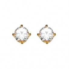 Inverness Round Cubic Zirconia 5mm 24k Earings (Gold Plated) # 33