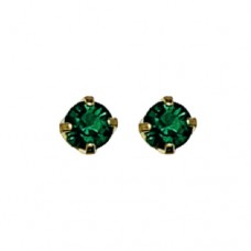 Inverness May Emerald Tiffany Earring 3mm 24KT GP #85